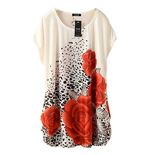 QIYUN.Z Floral De Base Beige Femmes Imprimes ete Amples Mode Casual Nouveaux T-Shirts T-Shirt Rouge
