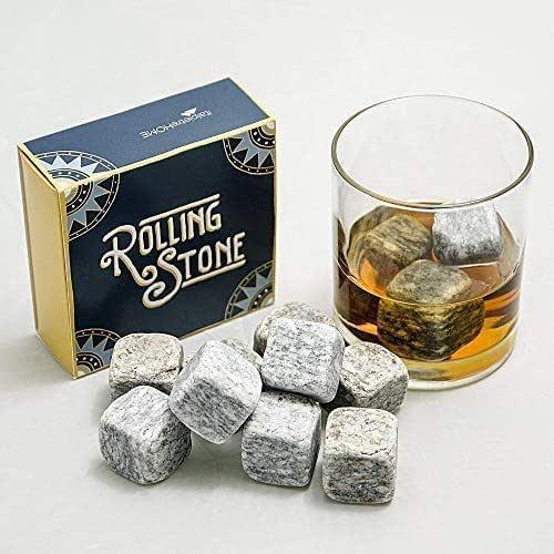 Rolling Stone: cubetti ghiaccio riutilizzabili in Pietra naturale di Luserna con sacchetto di stoffa per whisky, vino e bevande, pz 9
