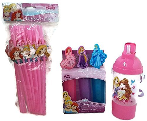 Disney Princess Pink Sip N Snack Drink Bottle - Frozen Popsicle/Candy Mold & Character Straws by Disney