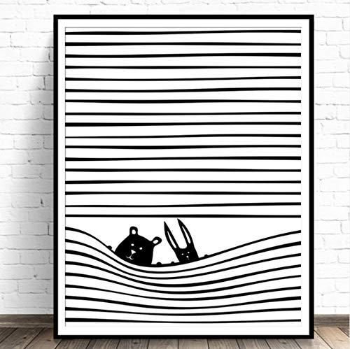 Kinderzimmer Wandkunst Kinderzimmer Dekor Niedlichen Tier Leinwand Malerei Schwarzweiß Animal Print Streifen Poster 40x50cm