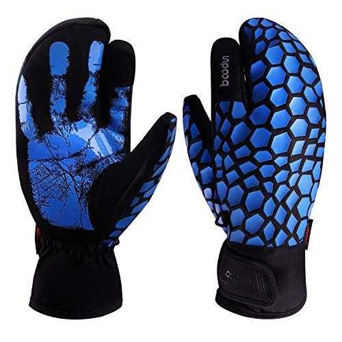 Molee Skihandschuhe, Herren Ski Snowboard Handschuhe Wasserdicht Warm Winterhandschuhe Winddicht (Blau, M)