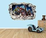 PPS Adesivo da parete in vinile 3D, con i supereroi della Marvel, con effetto a buco nel muro, adatto per pareti, porte e finestre in vetro della stanza dei bambini, plastica, multicolour, Extra Large 80 x 58cm