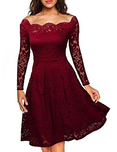 ISASSY -  Vestito  - linea ad a - Basic - Maniche lunghe  - Donna rosso vivo
