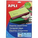 APLI 10053 - Etiquetas transparente (210 x 297 mm, paquete de 10)