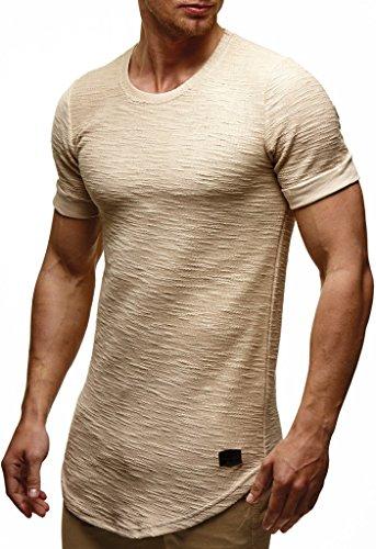 LEIF NELSON Herren Sommer T-Shirt Rundhals-Ausschnitt Slim Fit Baumwolle-Anteil | Moderner Männer T-Shirt Crew Neck Hoodie-Sweatshirt Kurzarm lang | LN6324 Beige M