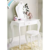 Caprican Amelia Vanity Girls Boys Kids White Wooden Dressing Table With Mirror & Stool