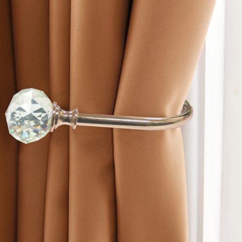 PHOEWON® Vorhang Raffhalter Kristall GardinenhalterVorhang Holdbacks Metall Raffhalters, Raffbügel für Vorhang -2 Pack (Gold)
