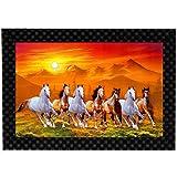 #7: MLH Handicraft Vastu Running Horses Gift Set With UV Print Wall Painting