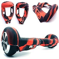 Carcasa de silicona protectora de 180 grados para aerodeslizador, accesorios de protección para tabla de 2 ruedas de 16,51 cm, para escúter eléctrico autoequilibrado (Rojo+Negro)