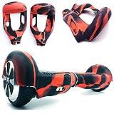Coque de protection à 180 ° en silicone pour hoverboard et trottinette électrique à deux roues de 16,5 cm (Rouge+Noir)