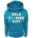 Artdiktat Damen Hoodie - Köln Fucking City Größe M, Blau