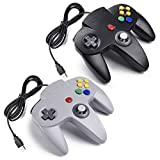 iNNEXT 2x USB N64 Nintendo 64 Controller Joystick GamePad für Windows PC Mac Raspberry pi3 Retro pie (Grau/Schwarz)