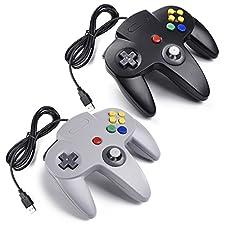 iNNEXT 2x Manette de Jeu Nintendo 64 N64 USB Classique Gamepad Joystick pour Windows PC Mac (Noir / Gris 2 Pack)