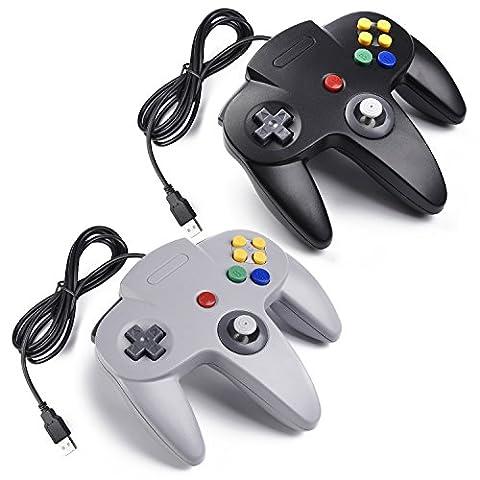 2x Retro Nintendo 64 N64 Classic USB Controller Gamepad Joystick,iNNEXT Nintendo N64 USB Game Controller for Windows/Mac/Linux/Raspberry
