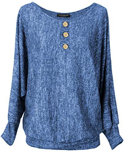 Emma & Giovanni - Pullover/Sweatshirt Geknöpfter Kragen Loose Fit - Damen (Blau, XL-XXL)