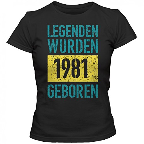 Legenden 1981 #1 T-Shirt | Jahrgang 81 | Geschenkidee | 36. Geburtstag | Frauen | Shirt © Shirt Happenz Schwarz (Deep Black L191)