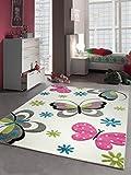 Kinderteppich Spielteppich Mädchen Schmetterling pink weiss Größe 140x200 cm