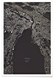 """JUNIQE® Poster 30x45cm Stadtpläne Zürich - Design """"Zürich City Map"""" (Format: Hoch) - Bilder, Kunstdrucke & Prints von unabhängigen Künstlern entworfen von Maptastix"""