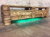 """Palettenmöbel Sideboard Lowboard """"Aprilia"""" XXL TV Möbel mit LED Beleuchtung und Schubladen geflammt und geölt"""