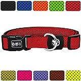 DDOXX Hundehalsband Air Mesh | für große & kleine Hunde | Katzenhalsband | Halsband | Halsbänder | Hundehalsbänder | Hund Katze Katzen Welpe Welpen | klein breit Leuchtend bunt | Rot, XS