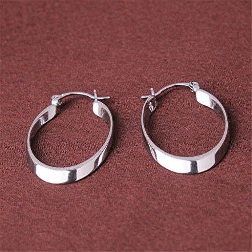 GULICX 18k White Gold Plated Hoop Earrings Vintage Style Creole Womens Girls GF Dashing Snap Down 4oVXeT