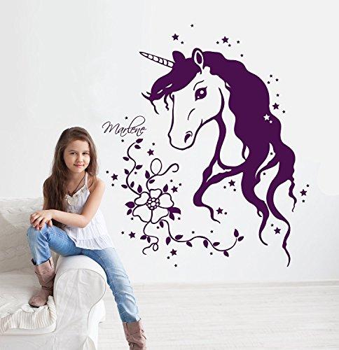 Wandtattoo Einhorn Einhornwandtattoo mit Namen Sternen Ranke Blumen Einhörner unicorn Mädchenwandtattoo Kinderzimmer M1291 (Beere)