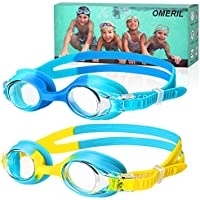 OMERIL Swimming Goggles, (2 Pack) Kids Swimming Goggles With Anti Fog Lens & Wide View, Flexible Nose Bridge, Soft Silicone Swim Goggles with Portable Bag for 3-14 Years Old Girls Boys Children