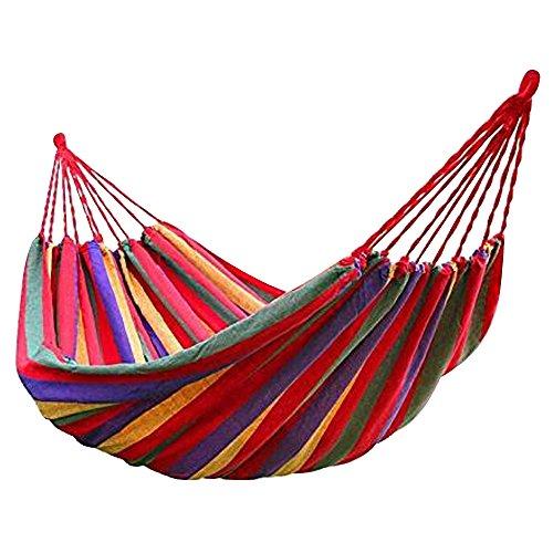 Lmeno canvas amaca addensato double 190*150 cm con 2 legatura delle corde libero per campeggio esterna spiaggia jungle giardino dormire viaggio --rosso