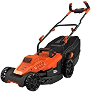 Black+Decker 1600W 38cm Lawn Mower with Bike Handle for Lawn & Garden, Orange/Black - BEMW471BH-GB, 2 Year