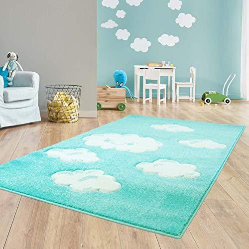Taracarpet Kinder Teppich für Das Kinderzimmer Bueno Hochwertig mit Konturenschnitt Mint verträumte Wolken 160x230 cm