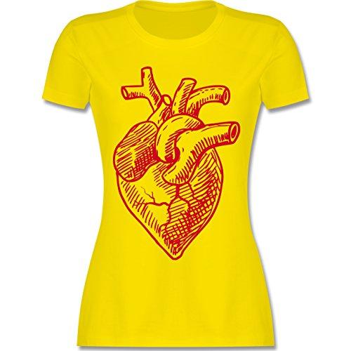 Statement Shirts - Organisches Herz Motiv - tailliertes Premium T-Shirt mit Rundhalsausschnitt für Damen Lemon Gelb