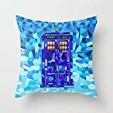Bixungan Phone Booth Tardis Doctor who Cubic Art Throw Pillow Covers Cushion Case 18x18 inches