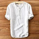 Aiserkly Mode Herren Sommer Button Casual Leinen und Baumwolle Kurzarm Top Bluse Weiß XL