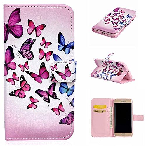 Qiaogle Telefon Case - PU Leder Wallet Schutzhülle Case für Apple iPhone 7 Plus (5.5 Zoll) - XIS14 / Plum Blume XIS15 / Flatternde Schmetterlinge