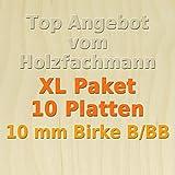 XL Paket 10 Platten 10mm Birke Sperrholzplatte Qualität B/BB (50 x 30cm) GP 27,99 €/m²