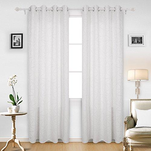 Deconovo tende oscuranti termiche isolanti con anelli e stampa argento tende coprenti per il salotto 140x245 cm bianco 2 pannelli