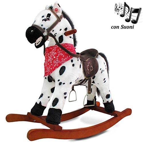 BAKAJI Cavallo a Dondolo per Bambini con Suoni Realistici Nitrisce e Muove la Bocca Struttura in Legno e Tessuto Peluche di qualità Giochi Infanzia (Bianco Puà)