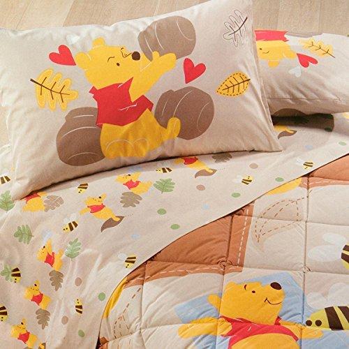 Lenzuola Flanella Disney Caleffi.Completo Lenzuola Winnie The Pooh Disney Caleffi Flanella Per Letto Singolo Q216 Azzurro