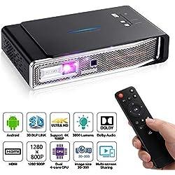 OTHA Mini proyector V5, Proyector Portátil, 3800 Lúmens, 1280x800, 3D DLP-Link, proyector LED Android, Soporte USB/IR / 4K / HDMI/AV, proyector con Sonido Dolby para Cine en casa, 16G