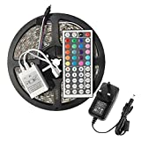 E-JIAEN LED Strip Water Resistant 16.4 ft/5m 300LEDs SMD3528 RGB LED Color Changing Flexible Strip Lights Lamp + 44Key Remote Control +DC12V Power Adaptor