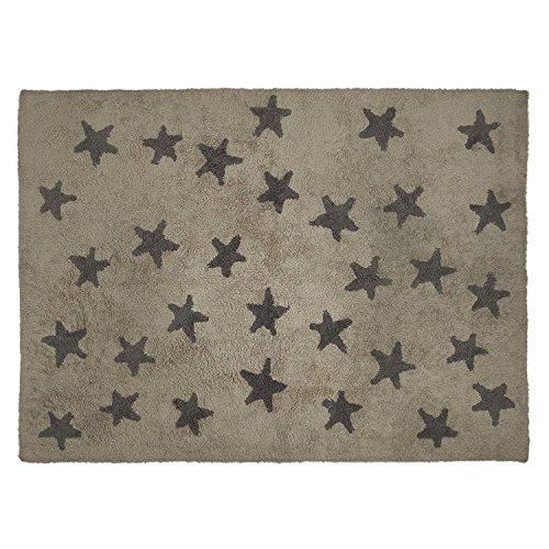 Lorena Canals Messy estrellas lavable alfombra lino/gris oscuro