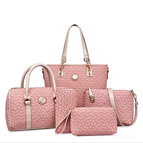 Sacchetto di chiave della borsa della borsa della borsa di cinque pezzi della borsa della donna, stile dell'ancoraggio di modo Pink