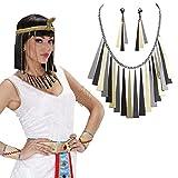 NET TOYS Ägyptischer Schmuck Cleopatra Kette und Ohrringe Kleopatra Schmuckset Ägypten Modeschmuck Antike Damenschmuck Göttin Kostüm Accessoires Karnevalskostüme Damen Römerin