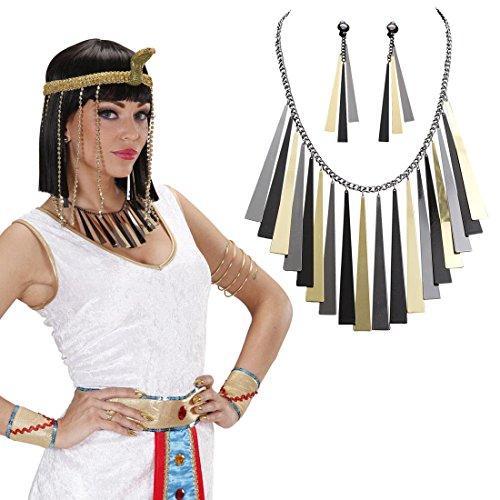 Ägyptischer Schmuck Cleopatra Kette und Ohrringe Kleopatra Schmuckset Ägypten Modeschmuck Antike Damenschmuck Göttin Kostüm Accessoires Karnevalskostüme Damen Römerin