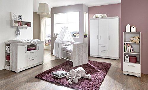 Babyzimmer, Kinderzimmer, Babymöbel, Komplett-Set, Babyausstattung, Babybett, Wickelkommode, Schrank, Mädchen, Junge, weiß, silber, grau, Pinie