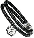 Lufetti® Lederarmband Love mit Buchstaben Namen Initialen, echtes Leder schwarz (E)