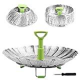 2020 vaisselle Steamer Batterie de cuisine Etuve Food Basket Mesh Steamer inoxydable pliant alimentation fruits légumes vapeur Cuisinière inoxydable (Color : Large size)