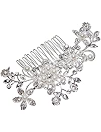 World Pride Bridal Wedding Jewelry Crystal Rhinestone Pearl Flowers Hair Comb Pin Silver