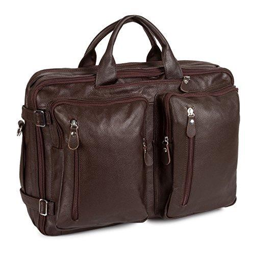UBaymax Aktentasche Ledertasche Laptoptasche Notebook Tasche Handtaschen Umhängetasche Schultertasche Reisetasche Leder Herren 14 Zoll 3 Fächer ,Groß:40cm x 15cm x 30cm (14 inch Braun) (Dark Coffee Canvas)
