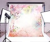 YongFoto 2x2m Vinyle Toile de Fond Shabby Chic Peinture l'aquarelle Fleurs Fond Décors Studio Photo Portrait Enfant Video Fete Mariage Photobooth Photographie Accesorios